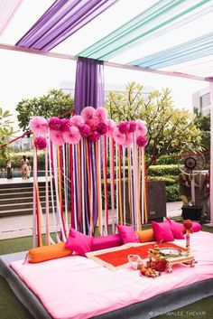 Modern & Traditional Haldi Ceremony Decor Ideas We Recommend! Origami ghosts should definitely be in your list! Wedding Stage Decorations, Diy Mehndi Decorations, Mehendi Decor Ideas, Desi Wedding Decor, Marriage Decoration, Wedding Mandap, Diy Engagement Decorations, Stall Decorations, Wedding Ceremony