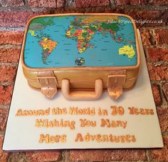Suitcase birthday cake for a globe trotting 70 year old! Piped Delights by Julie Cakes Guildford Surrey Novelty Celebration 70th Birthday Cake, 90th Birthday Parties, Birthday Ideas, Travel Cake, Travel Party, James Bond Cake, Map Cake, Suitcase Cake, Doctor Cake
