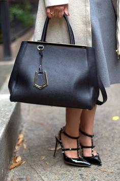 Fendi 2Jour handbag and Valentino Rockstud heels