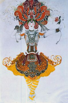 "Costume design by Leon Bakst for the Young Girl (Tamara Karsavina) in ""The Firebird"" by Igor Stravinsky, 1910"