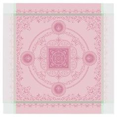 """Scroll and medallion-print napkin in candy pink with contrast trim detail.   Product: NapkinConstruction Material: CottonColor: Candy pinkFeatures:  High thread countMitred cornersMade in France Dimensions: 21"""" x 21""""Cleaning and Care: Machine wash on a low temperature"""
