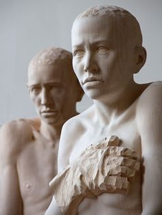 mario dilitz: lifesize wooden sculptures bear human emotion