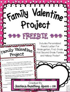 Family Valentine Project ***FREEBIE*** Includes three parent letters personalized for kindergarten, first grade and second grade families, as well as a hallway poster! Valentines Day Bulletin Board, Valentine Theme, Valentine Games, Valentines Sweets, Kids Valentines, Valentine Ideas, Letter To Parents, Parent Letters, Parent Board