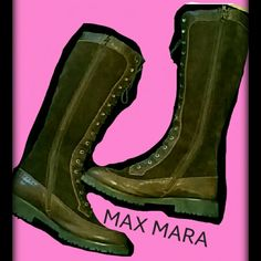 Lowest!!Huge Discnt! MAX MARA Boots-make offer! Max Mara Knee high Suede Lace Boots. Zippers too! These are incredible! Only worn a couple of times. The soles look like they were never walked on. These are very trendy, the style is all the rage! Kylie Jenner has been seen with boots like these, but with heels. Free People made a pair very similar. They fit me a little tight and I'm a 8 1/2. These are best for a 7 1/2-8 . They are a 7 1/2. Suede and Leather. Gorgeous! Boho fever here…