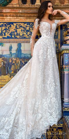 Crystal Design 2017 bridal long sleeves illusion bateau deep plunging sweetheart neckline full embellishment elegantsheath wedding dress v low back royal train (marlen) mv