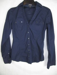 "Size XS. Top front button to bottom hem 15"". Shoulder seam to end of cuff 23"". Back neckline to bottom hem 24"". | eBay!"