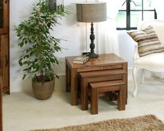 Mayan Walnut Nest of 3 Coffee Tables - CWC08A