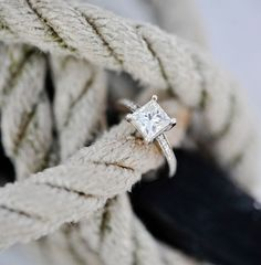 wedding ring | princess cut diamond <3 but without stones in the band!!! Ugh, I hate that.
