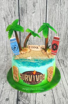 My sons classmate is a Survivor fan.Her mother wanted to surprise her with a cake.Unfortunatly she gave mw a call the evening before the birthday so I didn't have enough time.Anyway I like the result . Luau Birthday, 11th Birthday, 4th Birthday Parties, Birthday Cakes, Birthday Ideas, Survivor Theme, Survivor Party, Survivor Tv, Survivor Games