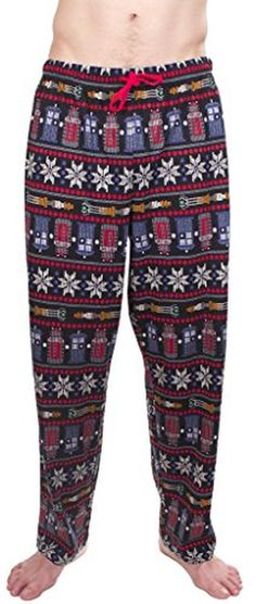 Doctor Who Fair Isle Tardis Dalek Snowflakes Black Lounge Pants (Adult Medium) - Brought to you by Avarsha.com