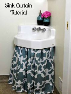 How To Make A Sink Curtain Skirt Easy Diy Tutorial Bathroom Sink Skirt Bathroom Sink Skirt, Small Bathroom, Bathroom Ideas, Bathroom Stuff, Washroom, Curtain Tutorial, Diy Tutorial, Skirt Tutorial, Wreath Tutorial