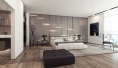 Interior, Modern Bedroom Decoration From Different Angle Ideas From Grey Gloss Wall Interior And Great Natural Lighting From Bay Window Design And Wooden Flooring With Grey Wide Rug Design And Furniture: Astonishing Unique Wall Texturing Master Bedroom Design, Home Bedroom, Modern Bedroom, Bedroom Wall, Bedroom Decor, Modern Wall, Bedroom Ideas, Bedroom Simple, Wall Decor