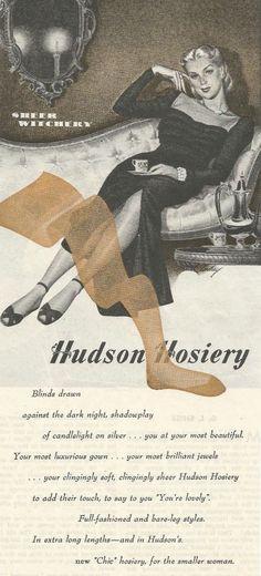 Vintage 1944 magazine ad advertisement - Hudson Hosiery