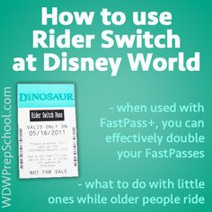 "Rider Switch (sometimes called ""Child Swap"") is Disney's system that allows people with small children to take turns riding the bigger rides while the other person/people wait with the child."