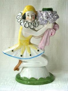 Art Deco Sitzendorf Figural Pierrette Candle Stick Candle Holder Half Doll.