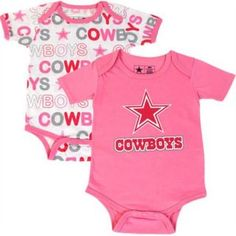 Dallas Cowboys Cutie Patootie Pink 2pk Onesie Set Baby Clothes Infant