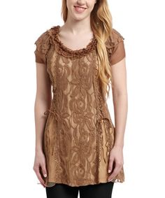 Another great find on #zulily! Brown Lace Linen-Blend Cap-Sleeve Tunic #zulilyfinds
