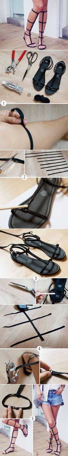 Gladiator Sandals: Leather, Snaps, Glue