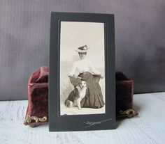 Elegant Edwardian Lady & Her Border Collie Dog Cabinet Card Antique Photograph by H.G. Borgfeldt, Meriden, Conn, Early 20th Century by TeaWithPavlova on Etsy