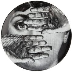 Fornasetti Printed plate ($130) ❤ liked on Polyvore featuring home, home decor, wall art, black, black plates, fornasetti plates, porcelain plates, black porcelain plates and fornasetti