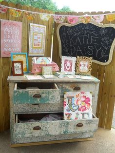 7 Outdoor Craft Fair Booth Ideas Youve Never Thought Of - Bring Furniture Outdoors. Really like this, makes great displays. Shabby chic for Mom, antique (ish) for me.