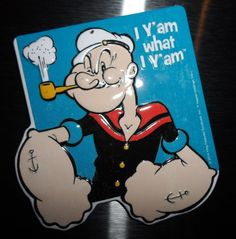 "Vintage Style Embossed POPEYE ""I Y'am What I Yam"" Metal Fridge Shop Magnet"