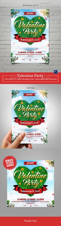 Flyer template design for valentine party or event Features :3 PSD file (min version cs2)2 Size : A4 Size (8.27¡¯x11.69¡¯) & 4¡¯x6¡¯size with 0.25¡¯bleedClearly labeled folders and layersCMYK ¨C 300dpi ¨C Ready to print with guidesTXT Help File Font : Master of BreakQueen of heavenBuilt Titling Thank You