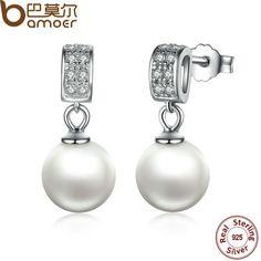BAMOER 925 Sterling Silver Drop Earrings Fine Jewelry Female Drop Earrings Jewelry with Pearls Earrings Accessories SCE006