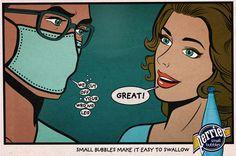 """Les 3 nouveaux prints de Perrier, qui communique astucieusement sur ses fines bulles permettant de mieux digérer certaines choses, avec Ogilvy Paris.""""Small bubbles make it easy to swallow."""""""
