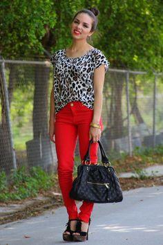 Leopard + Bright Red Pants + Red Lipstick + Bun