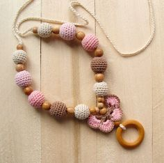Crochet teething necklace for mom Nursing necklace Babywearing Breastfeeding necklace Baby Organic Crochet wooden beads Kangaroo teether toy