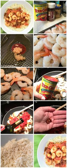 Spicy red pepper shrimp skillet is a super quick and healthy seafood recipe. It's made with 5 ingredients, and in less than 15 minutes. The recipe's here! Sea Food Salad Recipes, Spicy Recipes, Healthy Recipes, Seafood Risotto, Seafood Menu, Seafood Rice Recipe, Seafood Recipes, Dinner Dishes, Food Dishes