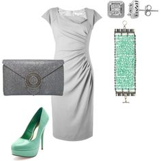 """Mint Green + Silver"" by hacaton on Polyvore"