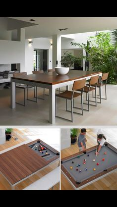 dining room --> pool table