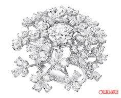 中央鑲嵌2克拉主鑽的wild bouquet radiant鑽戒 。1310萬元