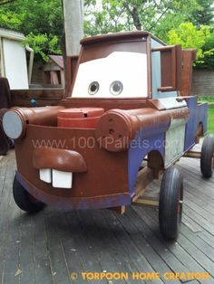 There was a soapbox racer, and he decided to make Mater (CARS) from repurposed pallets and other materials