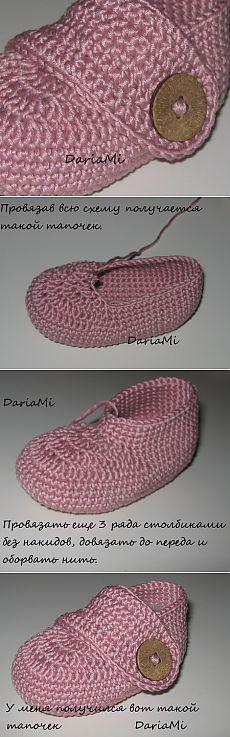 Пинетки-туфельки (мастер - класс). Crochet Baby Sandals, Booties Crochet, Crochet Shoes, Baby Booties, Knit Crochet, Crochet Slipper Pattern, Crochet Patterns, Handmade Baby Items, Baby Blessing