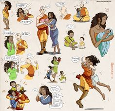 Aang and Katara... plus babies.