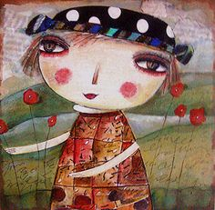 Painting collage print Little dream in the poppy by miliaart