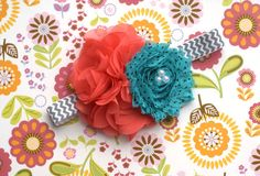 Coral Retro Shabby Chic Turquoise Dots Hair Bow or Headband for Little Girls