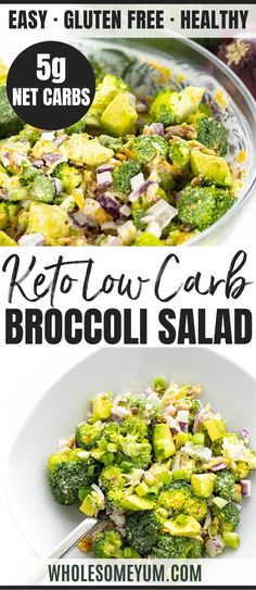 This KETO broccoli salad recipe with bacon, cheese, avocado and sweet creamy dressing takes just 10 minutes! Low carb broccoli salad bursts with flavor and crunch. Perfect for meal prep, weeknights, holidays and more! Recipes With Bacon And Cheese, Bacon Recipes, Side Recipes, Keto Recipes, Healthy Recipes, Potluck Recipes, Ketogenic Recipes, Ketogenic Diet, Low Carb Broccoli Salad