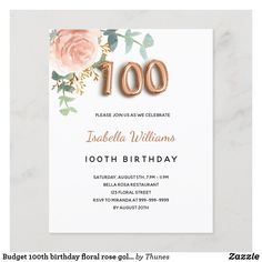40th Birthday Party For Women, 90th Birthday Parties, Birthday Party Celebration, Zazzle Invitations, Postcard Size, Party Supplies, Floral, Greenery, Rose Gold