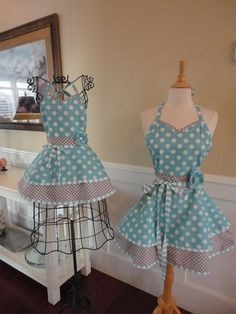 Mother Daughter Mia Aprons - Aqua ~ Mommy & Me ~ Sadie Style - Mother's Day - Retro Aprons ~ 4RetroSisters