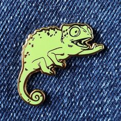 Chameleon Hard Enamel Pin Green and Gold by Ohjessicajessica