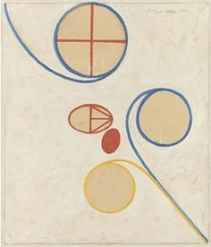 Hilma af Klint, Swedish mystic, early abstract artist, influenced by Mondrian & Theosophy. It's hard to get the effect of her pictures from the pin since they were very large.