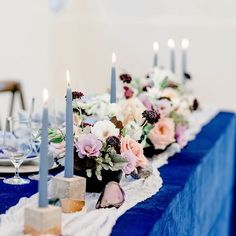 Royal blue, dusty blue, blush, and burgundy wedding reception table decor and centerpiece inspiration with taper candles and dahlias. #bluewedding #blueweddingreception #bluetablescape Blue Wedding Receptions, Wedding Reception Table Decorations, Wedding Centerpieces, Celestial Wedding, Burgundy Wedding, Industrial Wedding, Wedding Book, Event Photography, Modern