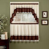 Birds Chocolate 5 Piece Curtain Tier And Swag Set 24 Inch In