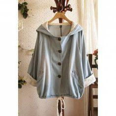 $13.76 Cloak Style Lace Splicing Batwing Sleeve Hooded Denim Coat For Women