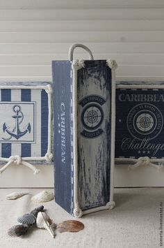 "короб пенал ""Карибское море"" - короб,короб для хранения,короб-пенал,Короб для мелочей Decoupage Wood, Empty Bottles, Wood Print, Wood Projects, Crates, Stencils, Diy Crafts, Prints, Painting"