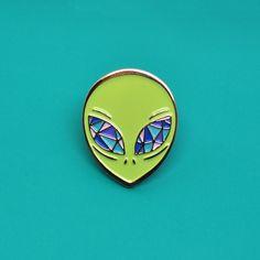 Alien green enamel pin / Crystal eyes / X Files / Sci Fi / UFO by PointsAndPlaces on Etsy https://www.etsy.com/listing/510414316/alien-green-enamel-pin-crystal-eyes-x